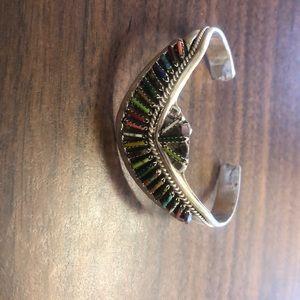 Navajo needlepoint multicolor silver bracelet